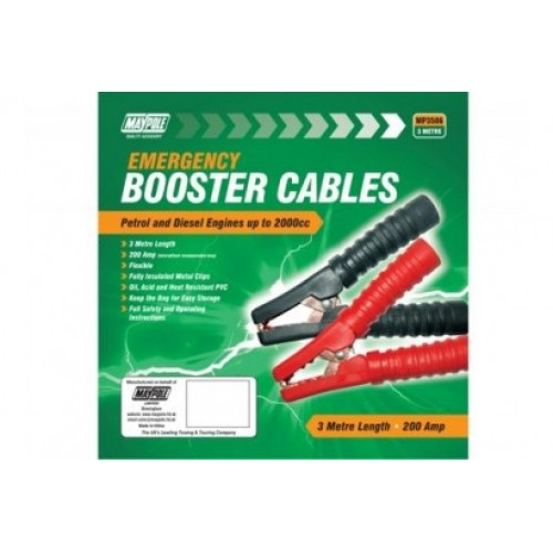 MP3506 BOOSTER CABLE , PEAK OUTPUT 200A, 8.5MM X 3M POLYBAG CCA